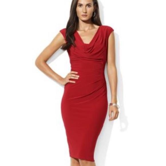 Lauren by Ralph Lauren Cowlneck Red Dress NWT